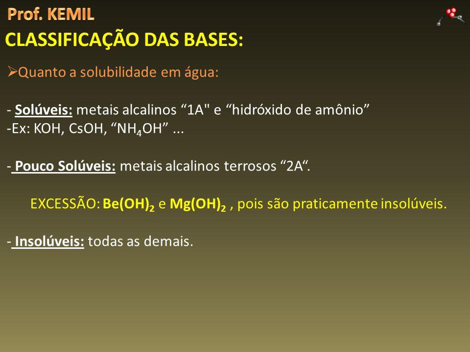 CLASSIFICAÇÃO DAS BASES: