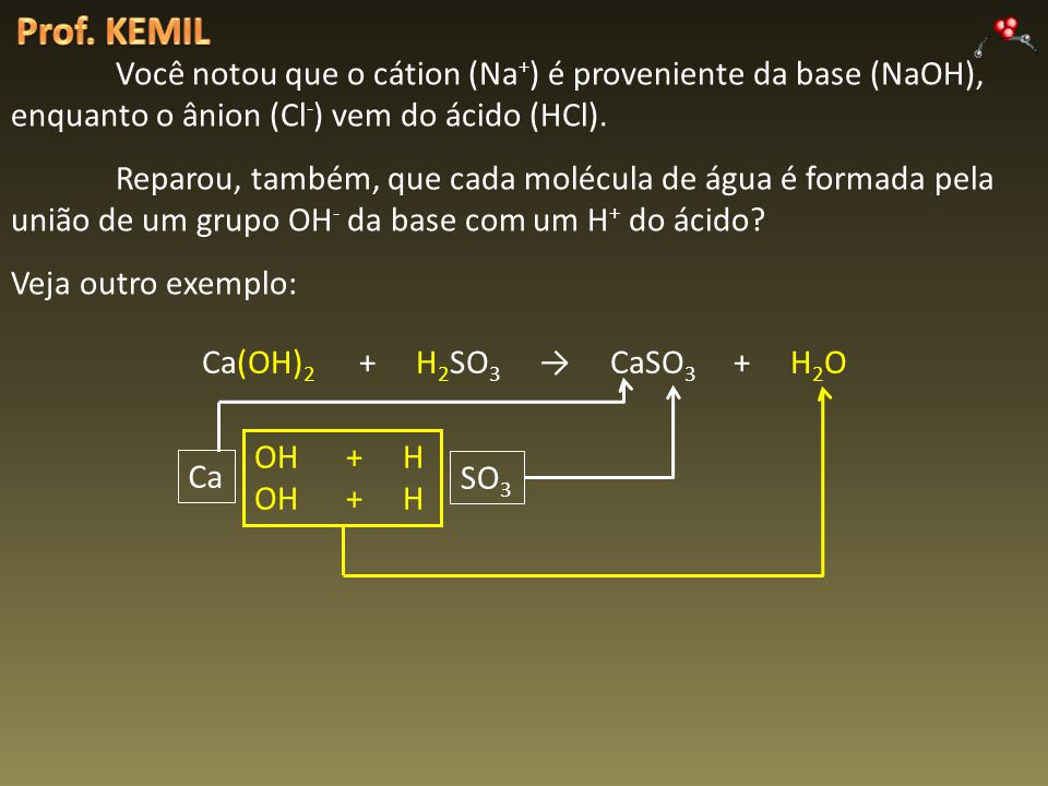 Prof. KEMIL Você notou que o cátion (Na+) é proveniente da base (NaOH), enquanto o ânion (Cl-) vem do ácido (HCl).