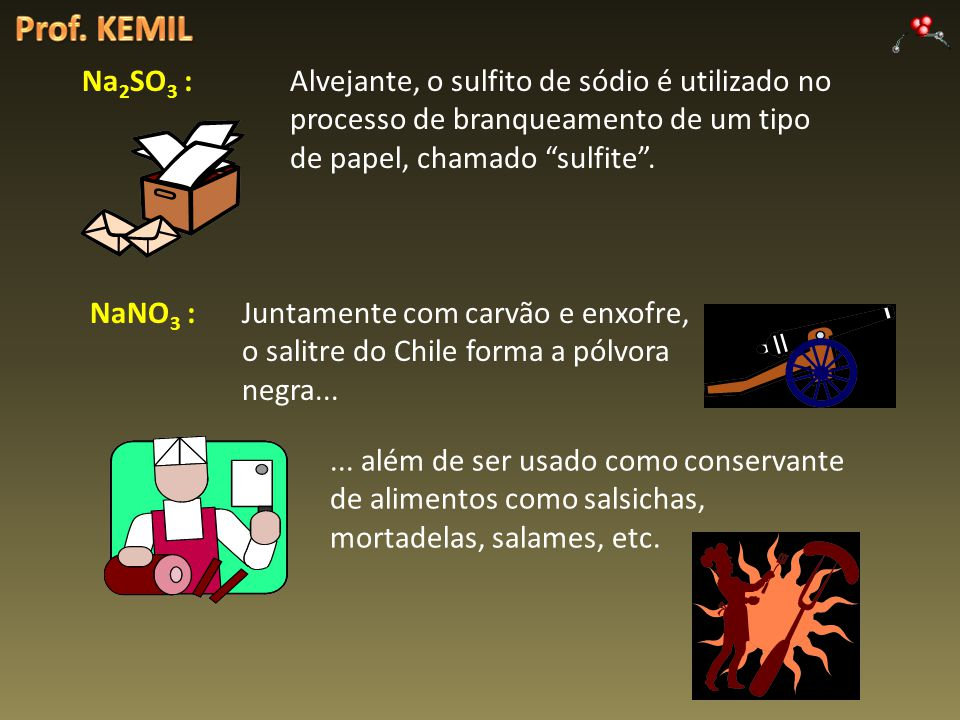 Prof. KEMIL Na2SO3 : Alvejante, o sulfito de sódio é utilizado no processo de branqueamento de um tipo de papel, chamado sulfite .