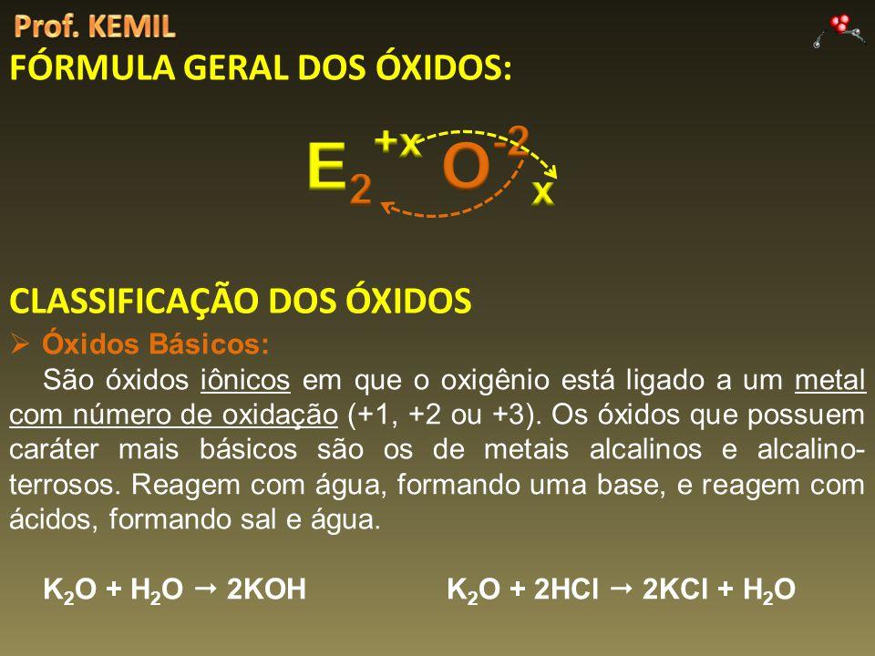 E2+x O-2x FÓRMULA GERAL DOS ÓXIDOS: CLASSIFICAÇÃO DOS ÓXIDOS
