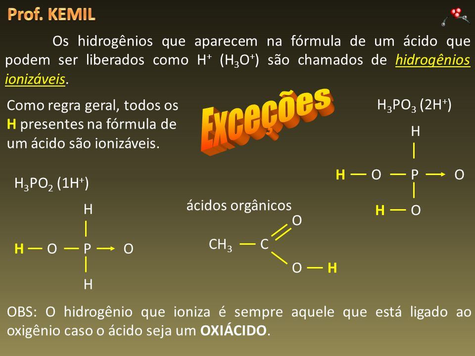 Prof. KEMIL Os hidrogênios que aparecem na fórmula de um ácido que podem ser liberados como H+ (H3O+) são chamados de hidrogênios ionizáveis.