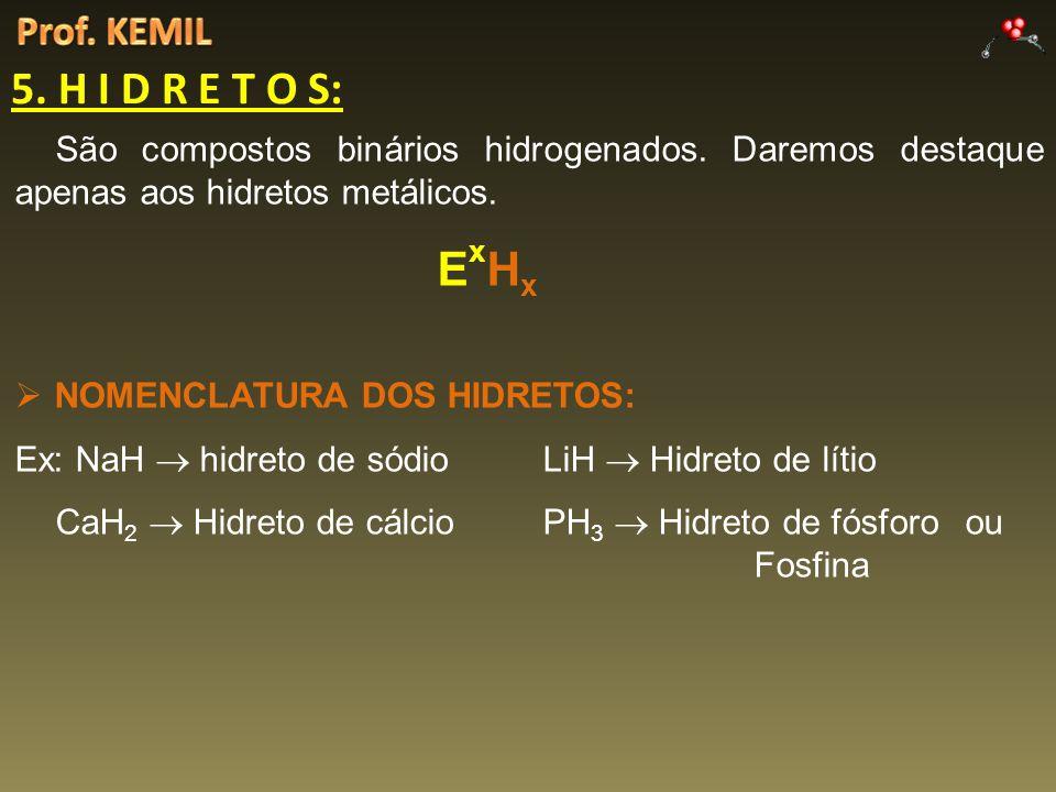 Prof. KEMIL 5. H I D R E T O S: São compostos binários hidrogenados. Daremos destaque apenas aos hidretos metálicos.