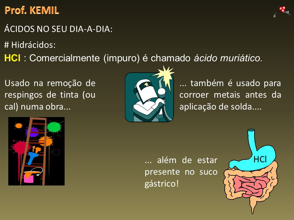 Prof. KEMIL ÁCIDOS NO SEU DIA-A-DIA: # Hidrácidos: