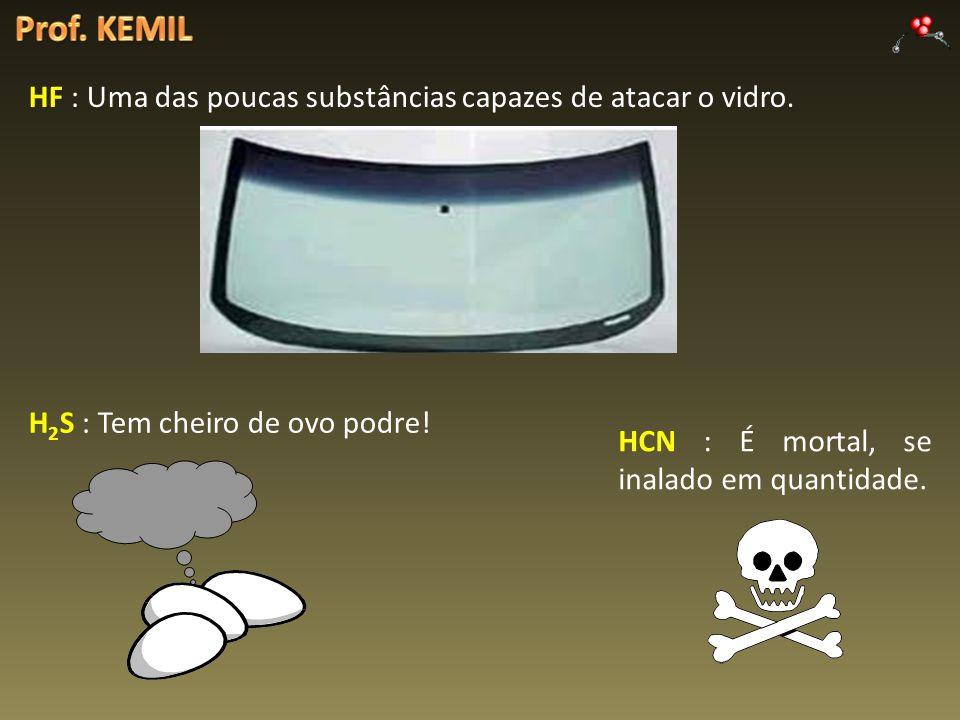 Prof. KEMIL HF : Uma das poucas substâncias capazes de atacar o vidro.