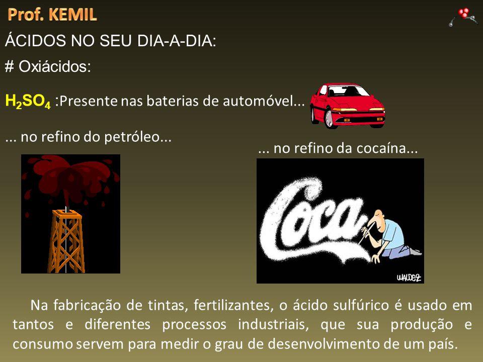 Prof. KEMIL ÁCIDOS NO SEU DIA-A-DIA: # Oxiácidos: