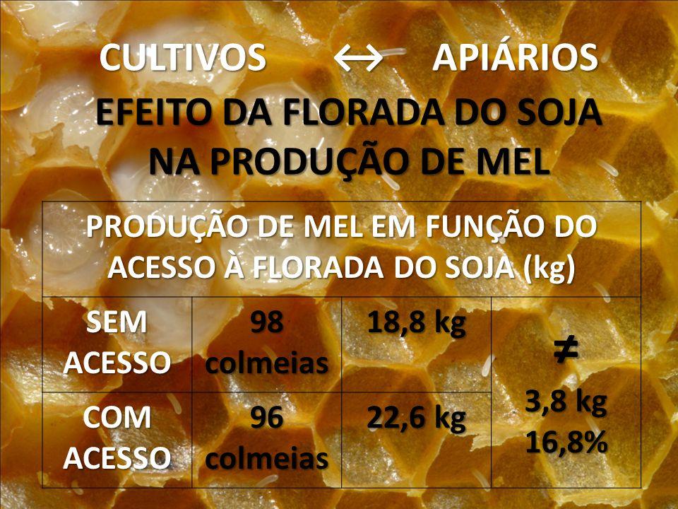 ≠ CULTIVOS ↔ APIÁRIOS EFEITO DA FLORADA DO SOJA NA PRODUÇÃO DE MEL