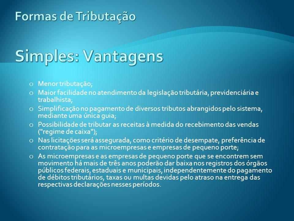 Formas de Tributação Simples: Vantagens