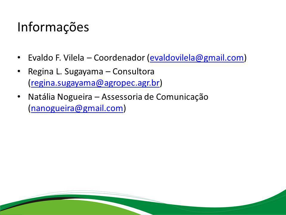 Informações Evaldo F. Vilela – Coordenador (evaldovilela@gmail.com)