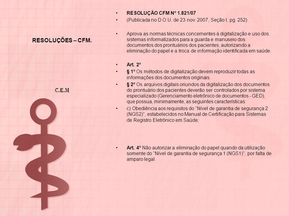 RESOLUÇÕES – CFM. C.E.M RESOLUÇÃO CFM Nº 1.821/07