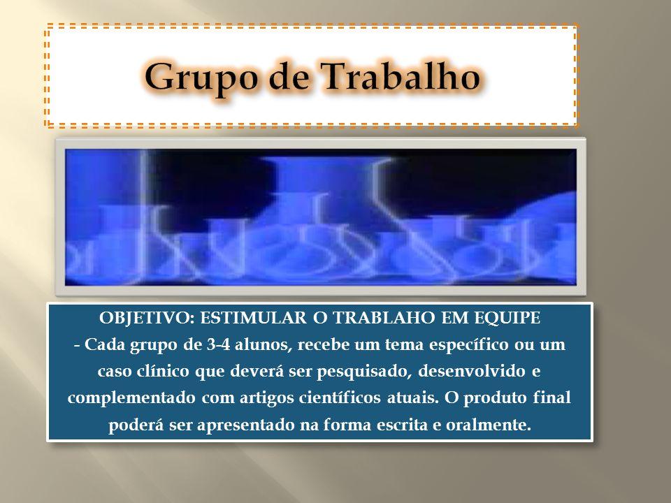 Grupo de Trabalho OBJETIVO: ESTIMULAR O TRABLAHO EM EQUIPE