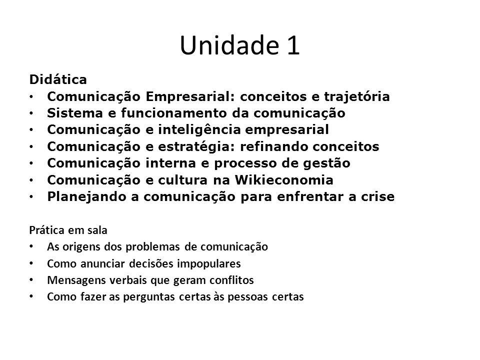 Unidade 1 Didática Comunicação Empresarial: conceitos e trajetória