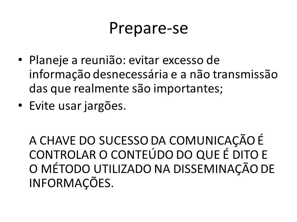 Prepare-se Planeje a reunião: evitar excesso de informação desnecessária e a não transmissão das que realmente são importantes;