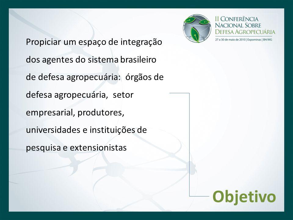 Propiciar um espaço de integração dos agentes do sistema brasileiro de defesa agropecuária: órgãos de defesa agropecuária, setor empresarial, produtores, universidades e instituições de pesquisa e extensionistas