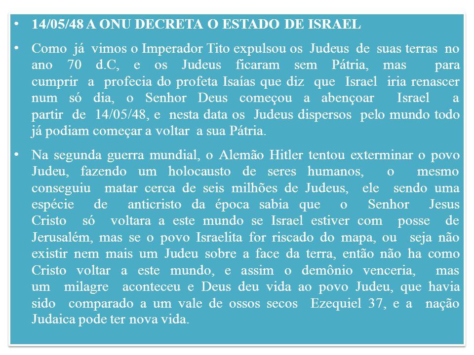 14/05/48 A ONU DECRETA O ESTADO DE ISRAEL