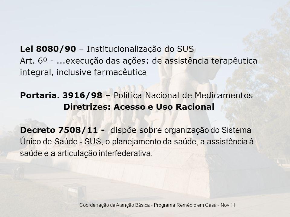 Lei 8080/90 – Institucionalização do SUS