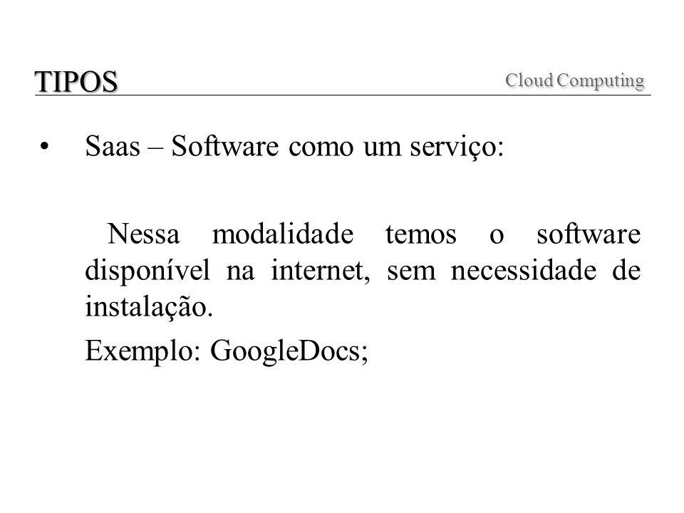 Cloud Computing TIPOS Saas – Software como um serviço: