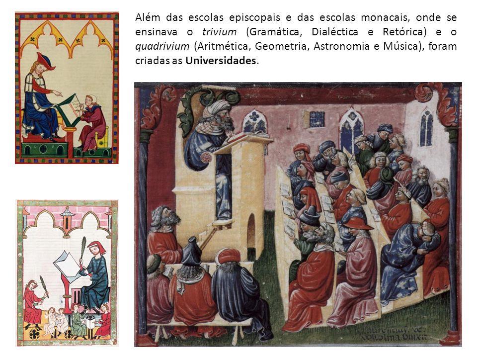 Além das escolas episcopais e das escolas monacais, onde se ensinava o trivium (Gramática, Dialéctica e Retórica) e o quadrivium (Aritmética, Geometria, Astronomia e Música), foram criadas as Universidades.