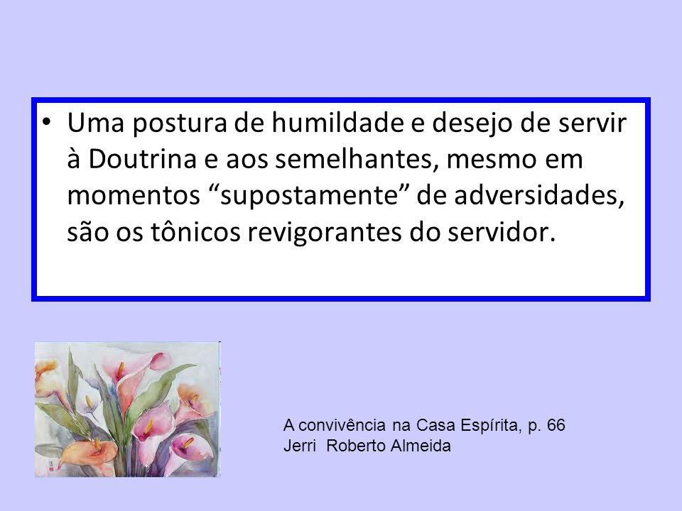 Uma postura de humildade e desejo de servir à Doutrina e aos semelhantes, mesmo em momentos supostamente de adversidades, são os tônicos revigorantes do servidor.