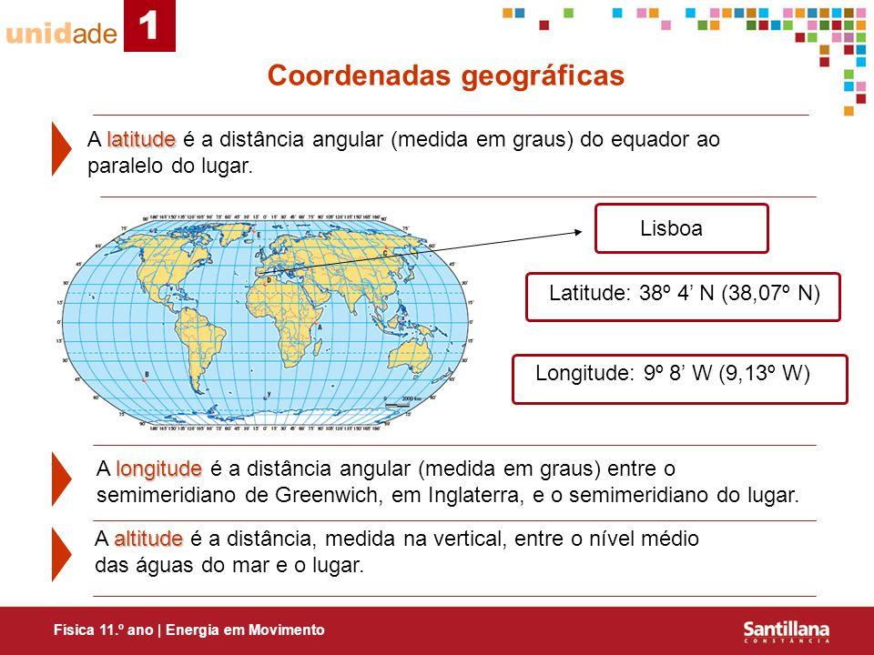 1 unidade Coordenadas geográficas