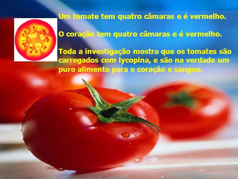 Um tomate tem quatro câmaras e é vermelho.