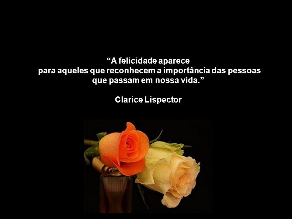 A felicidade aparece para aqueles que reconhecem a importância das pessoas que passam em nossa vida.