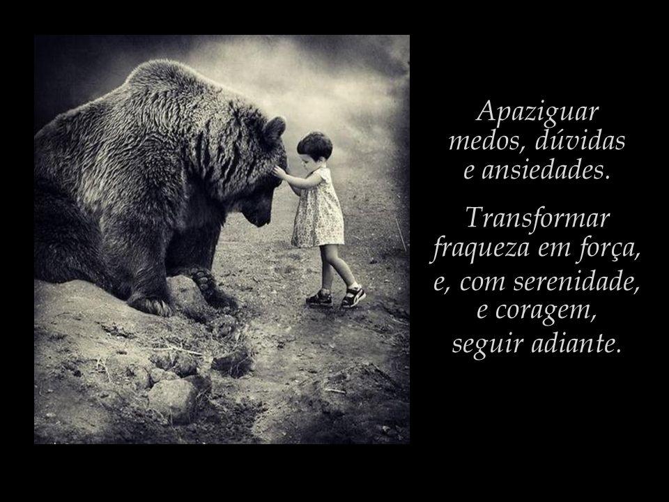 Apaziguar medos, dúvidas. e ansiedades. Transformar. fraqueza em força, e, com serenidade, e coragem,