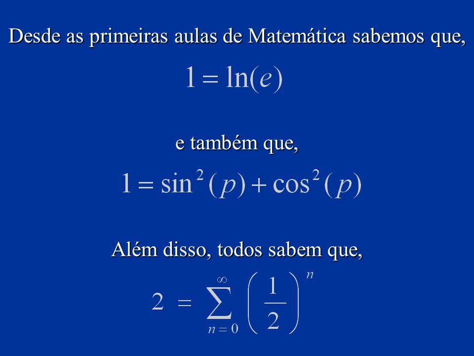 Desde as primeiras aulas de Matemática sabemos que,