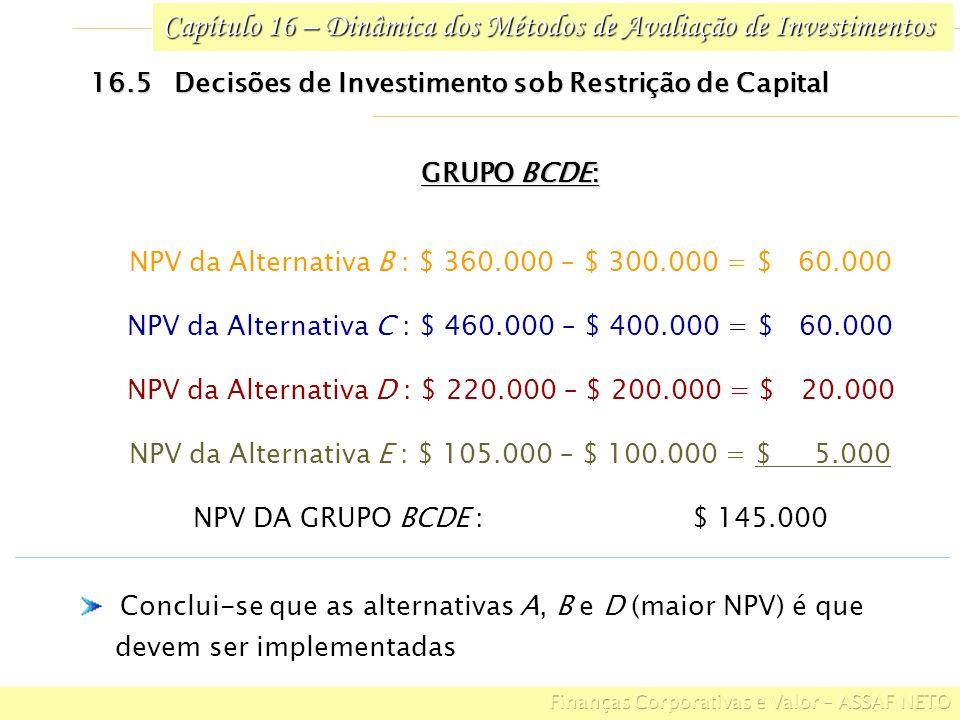 Capítulo 16 – Dinâmica dos Métodos de Avaliação de Investimentos