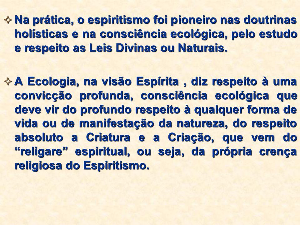 Na prática, o espiritismo foi pioneiro nas doutrinas holísticas e na consciência ecológica, pelo estudo e respeito as Leis Divinas ou Naturais.