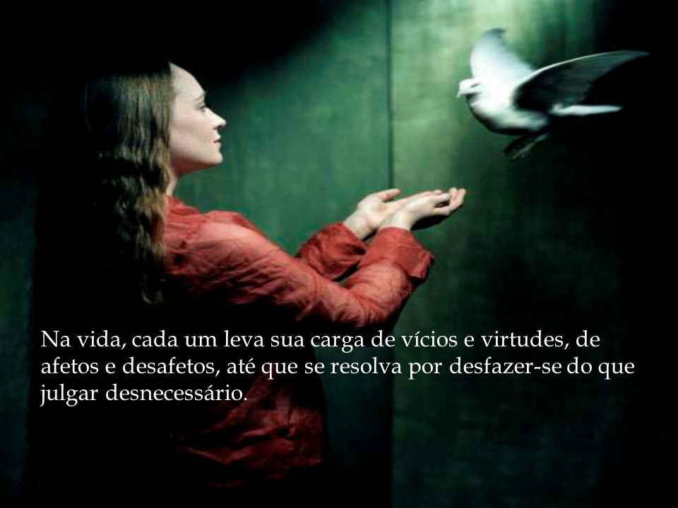Na vida, cada um leva sua carga de vícios e virtudes, de afetos e desafetos, até que se resolva por desfazer-se do que julgar desnecessário.