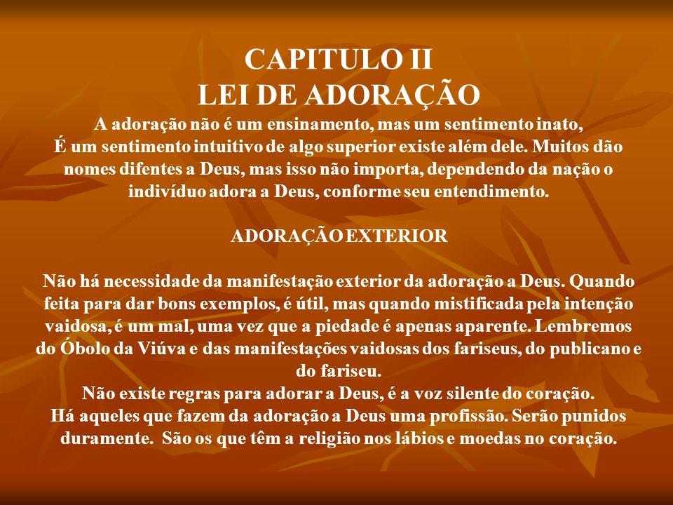 CAPITULO II LEI DE ADORAÇÃO
