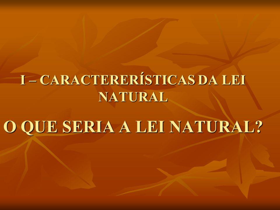 I – CARACTERERÍSTICAS DA LEI NATURAL O QUE SERIA A LEI NATURAL