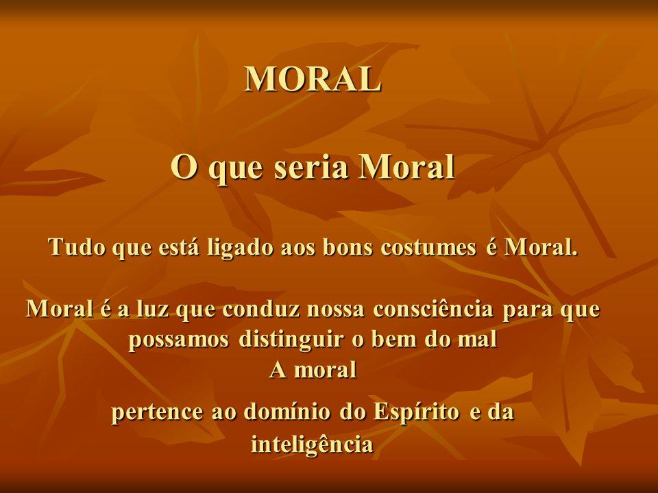 MORAL O que seria Moral Tudo que está ligado aos bons costumes é Moral
