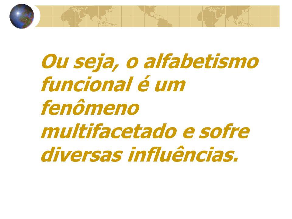 Ou seja, o alfabetismo funcional é um fenômeno multifacetado e sofre diversas influências.