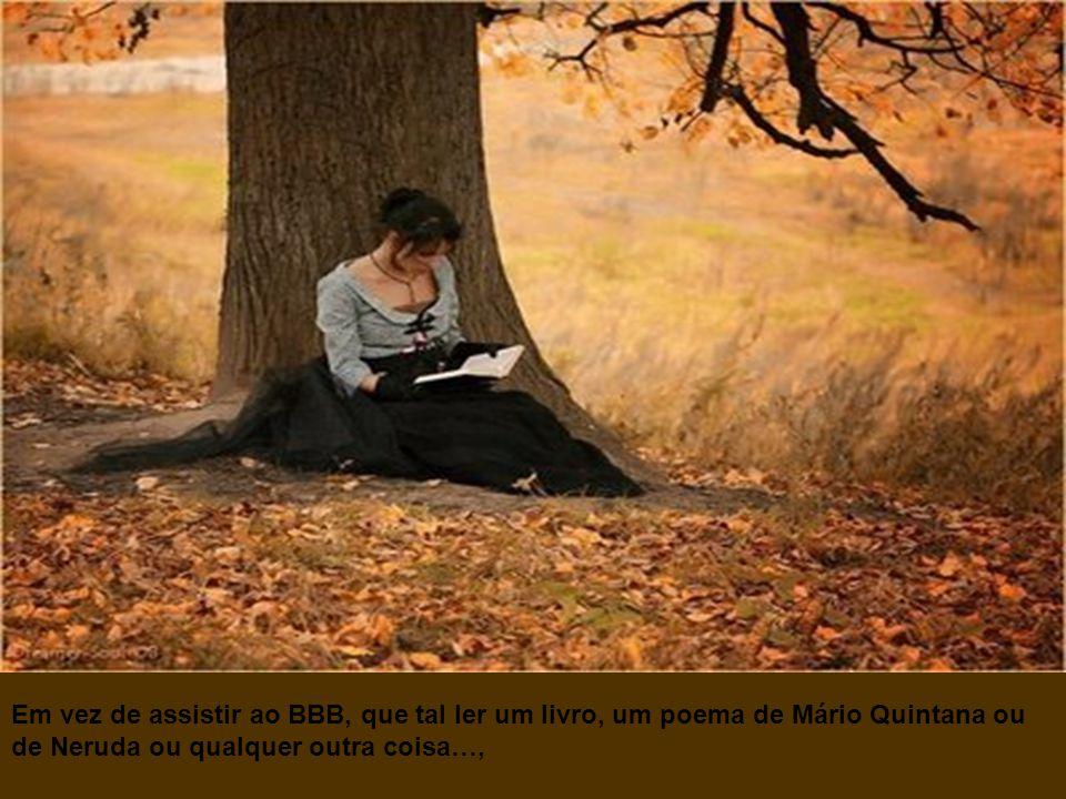 Em vez de assistir ao BBB, que tal ler um livro, um poema de Mário Quintana ou de Neruda ou qualquer outra coisa…,