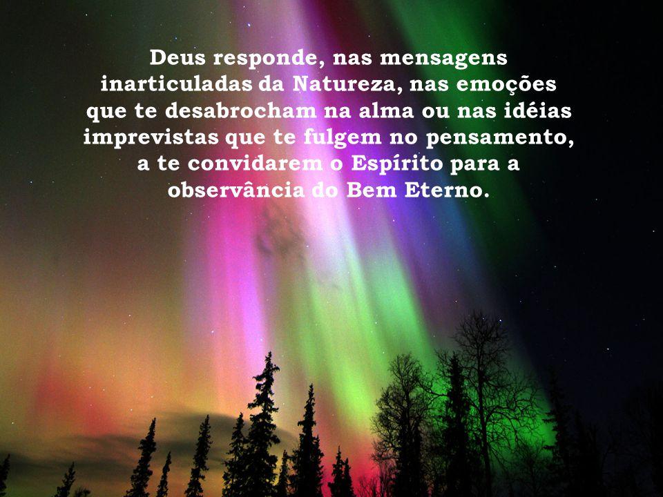 Deus responde, nas mensagens inarticuladas da Natureza, nas emoções que te desabrocham na alma ou nas idéias imprevistas que te fulgem no pensamento, a te convidarem o Espírito para a observância do Bem Eterno.