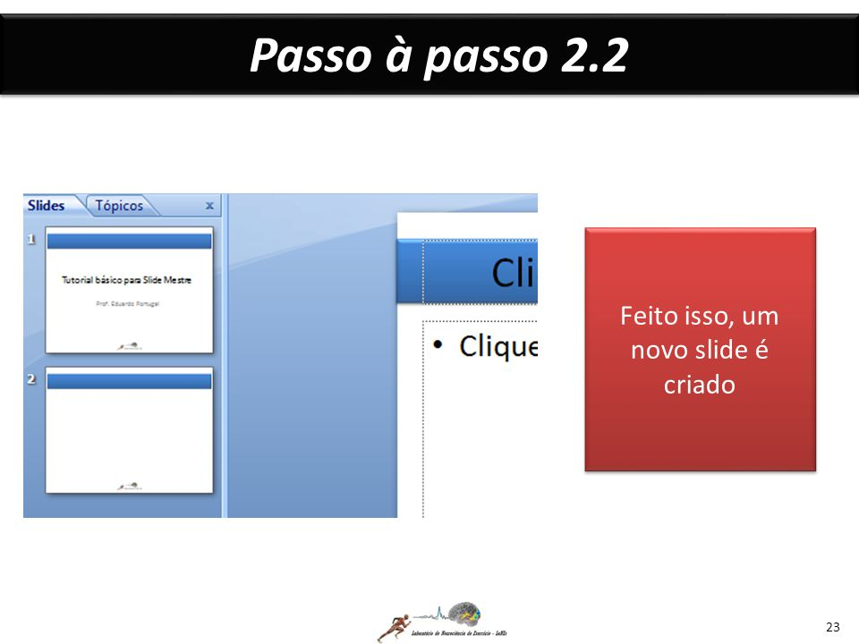 Feito isso, um novo slide é criado