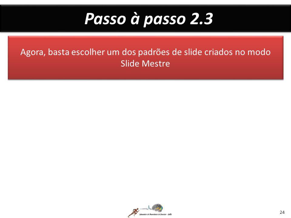 Passo à passo 2.3 Agora, basta escolher um dos padrões de slide criados no modo Slide Mestre