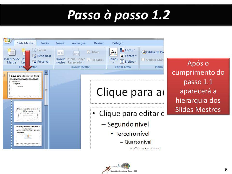 Passo à passo 1.2 Após o cumprimento do passo 1.1 aparecerá a hierarquia dos Slides Mestres