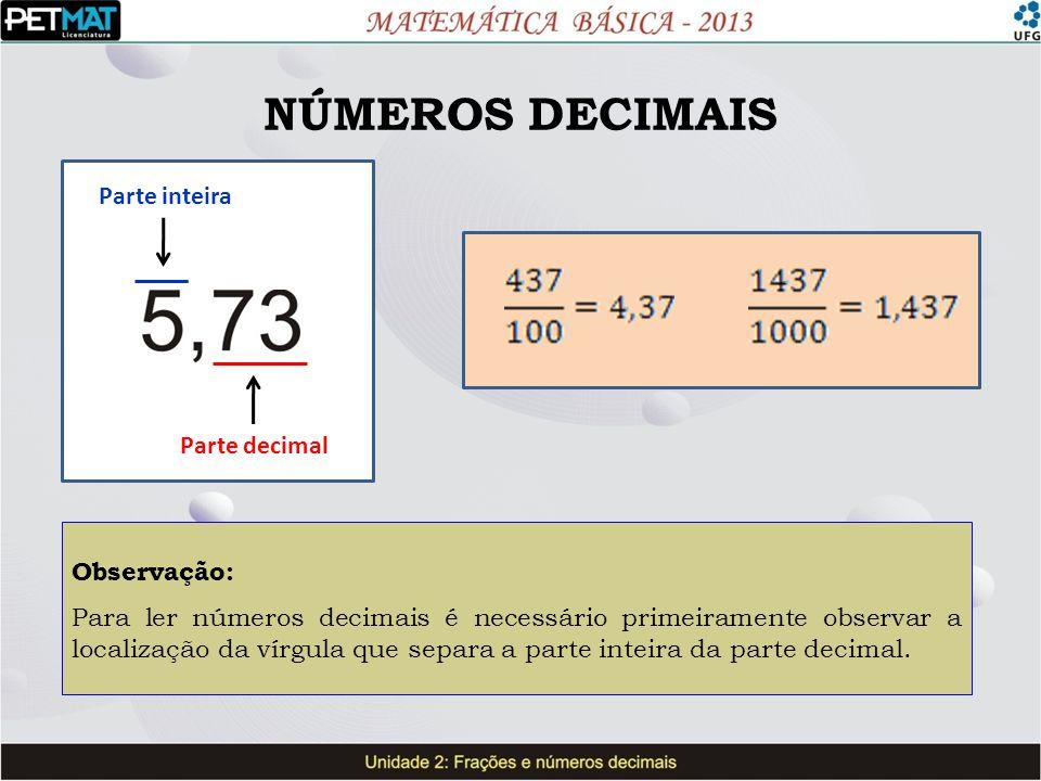 NÚMEROS DECIMAIS Parte inteira Parte decimal Observação: