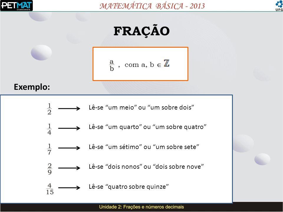 FRAÇÃO Exemplo: , com a, b  Lê-se um meio ou um sobre dois