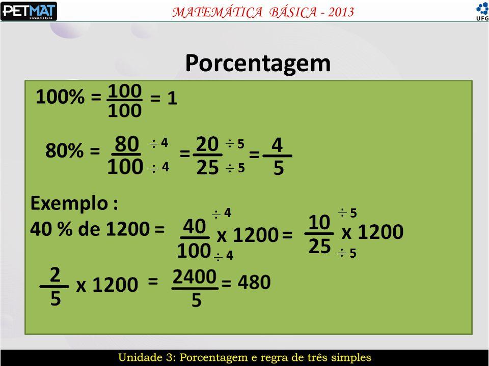 Porcentagem 100% = 80% = Exemplo : 40 % de 1200 = = =