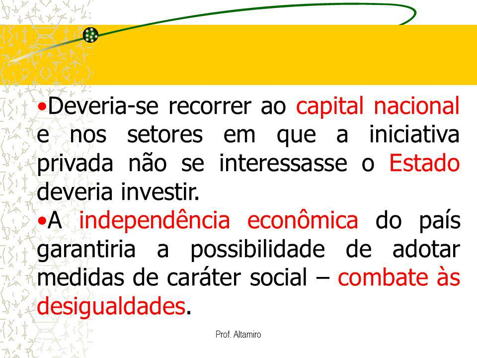 Deveria-se recorrer ao capital nacional e nos setores em que a iniciativa privada não se interessasse o Estado deveria investir.