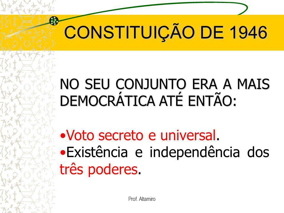CONSTITUIÇÃO DE 1946 NO SEU CONJUNTO ERA A MAIS DEMOCRÁTICA ATÉ ENTÃO: