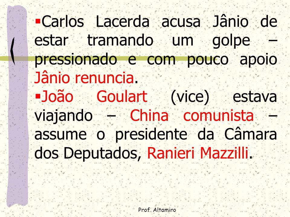 Carlos Lacerda acusa Jânio de estar tramando um golpe – pressionado e com pouco apoio Jânio renuncia.
