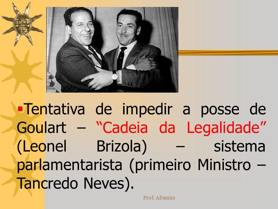 Tentativa de impedir a posse de Goulart – Cadeia da Legalidade (Leonel Brizola) – sistema parlamentarista (primeiro Ministro – Tancredo Neves).