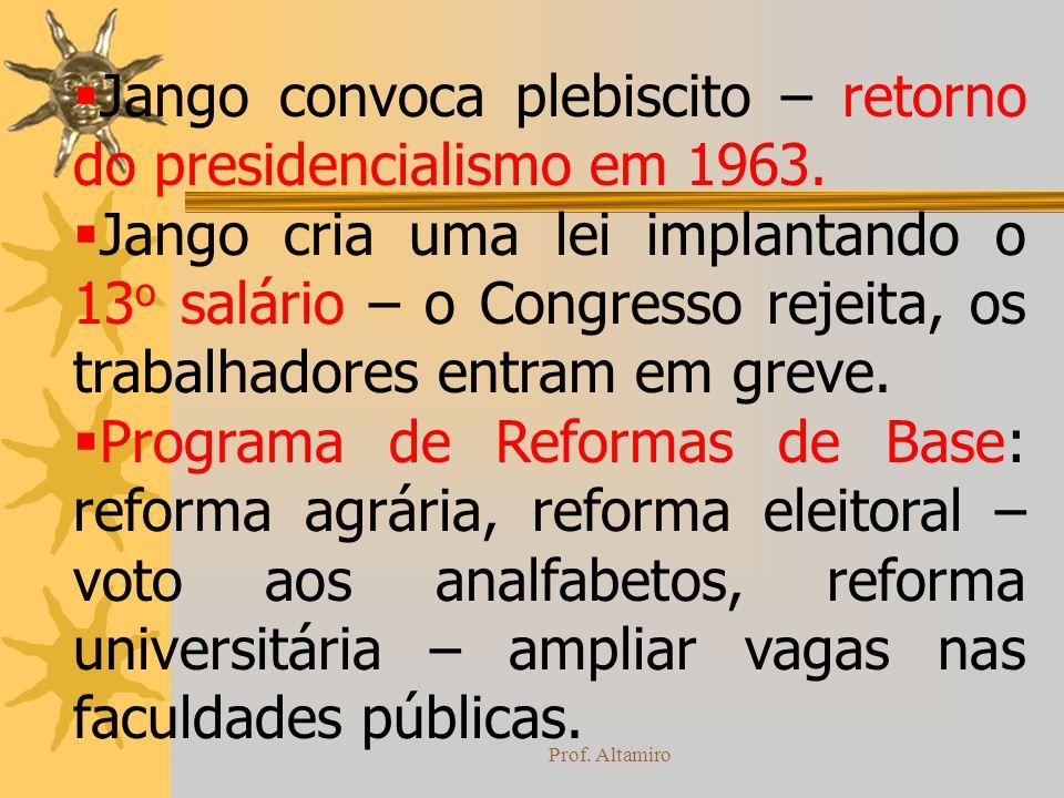 Jango convoca plebiscito – retorno do presidencialismo em 1963.