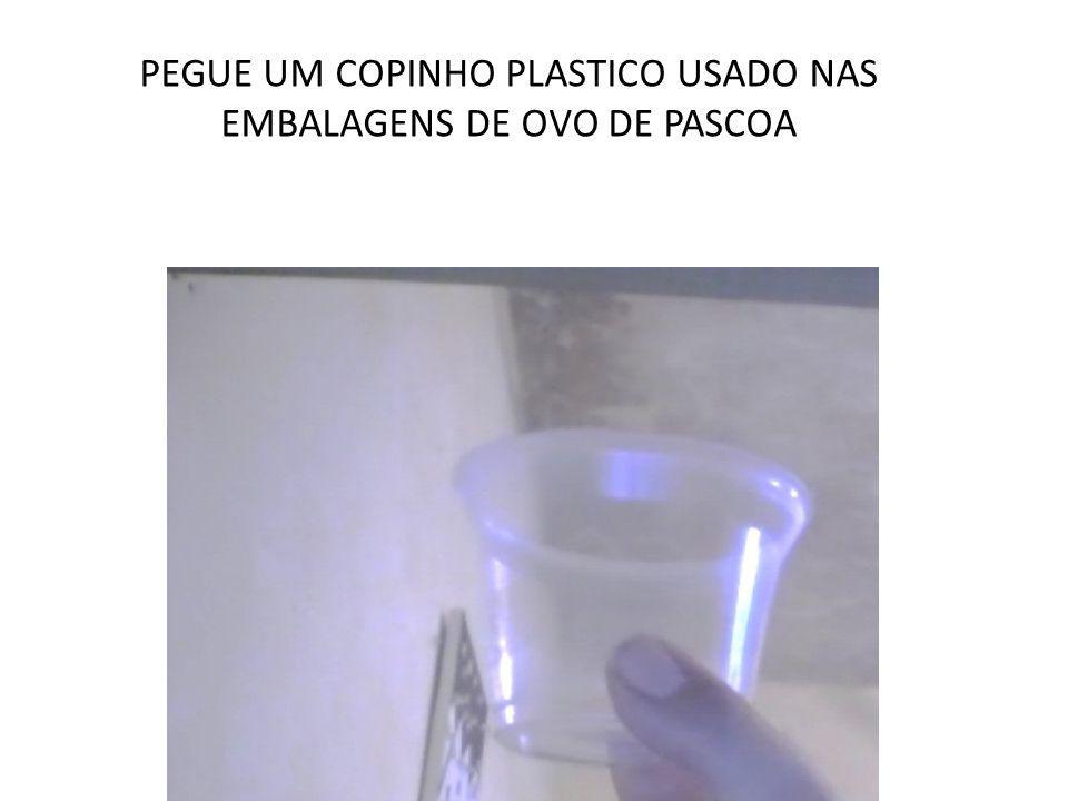 PEGUE UM COPINHO PLASTICO USADO NAS EMBALAGENS DE OVO DE PASCOA
