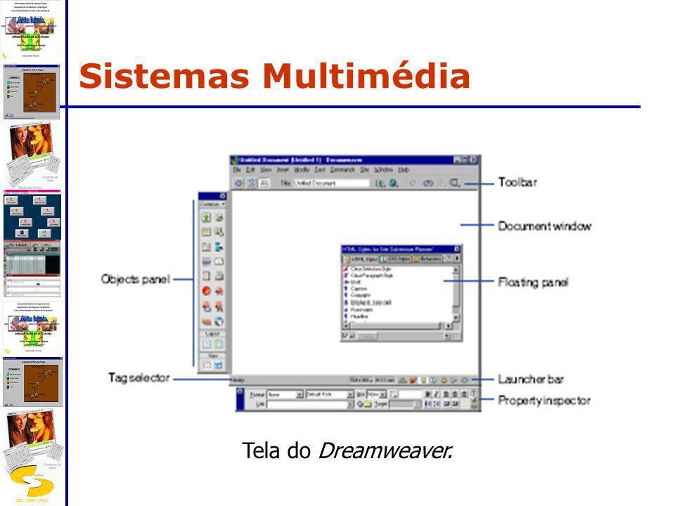 Sistemas Multimédia Tela do Dreamweaver.