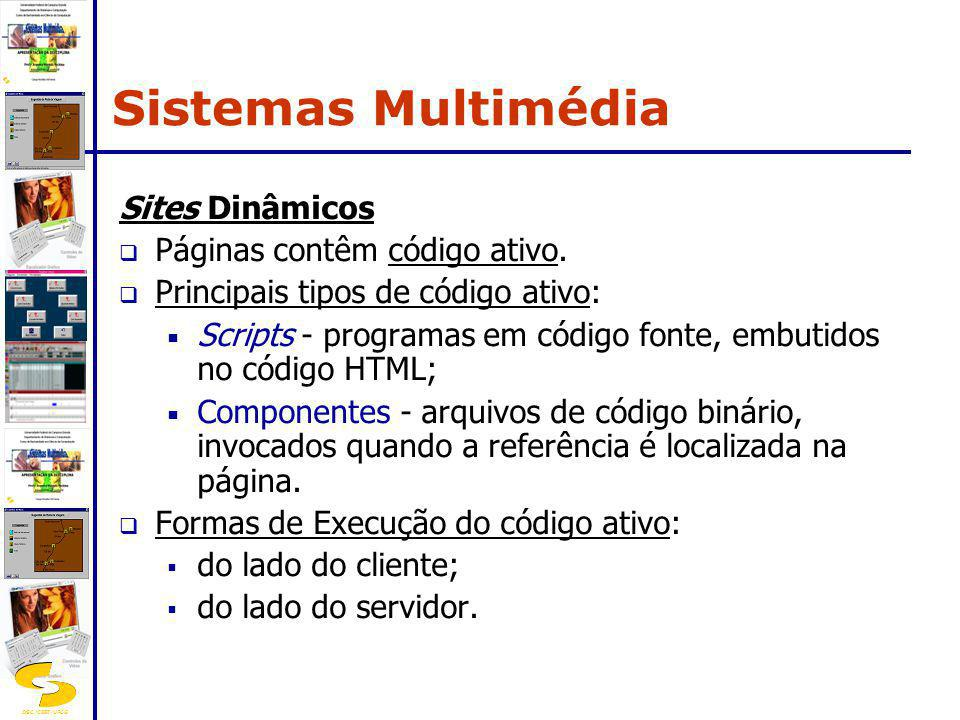 Sistemas Multimédia Sites Dinâmicos Páginas contêm código ativo.